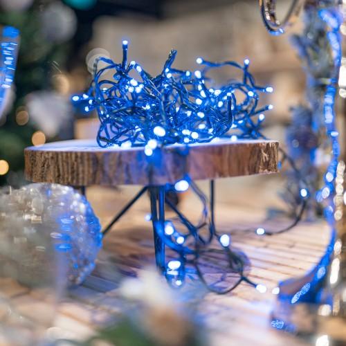 Blauwe kerstlampjes